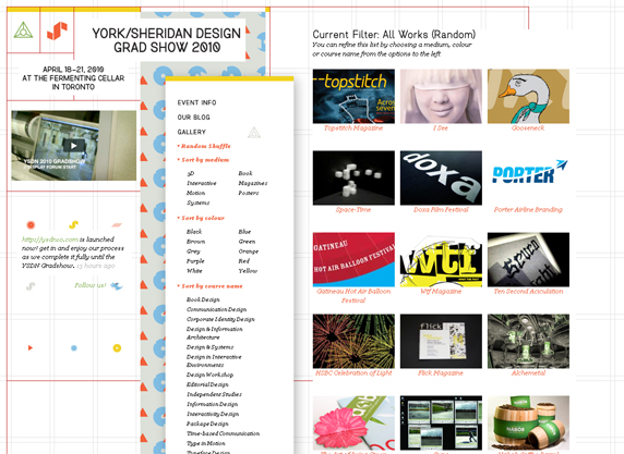 York/Sheridan Design Grad Show 2010 Website